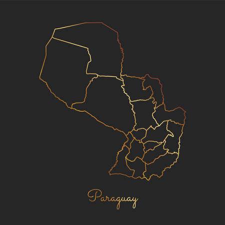 trotting: Paraguay region map: golden gradient outline on dark background. Detailed map of Paraguay regions. Vector illustration.