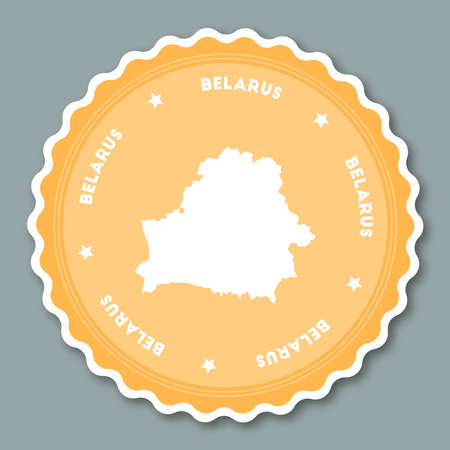 undefined: Belarus sticker flat design. Round flat style badges of trendy colors with country map and name. Country sticker vector illustration. Illustration
