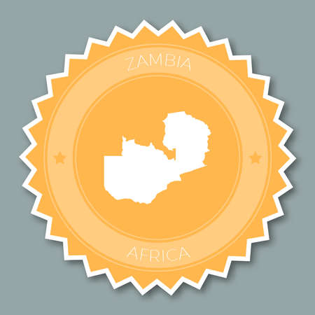 Zambia badge flat design. Round flat style sticker of trendy colors with country map and name. Country badge vector illustration.