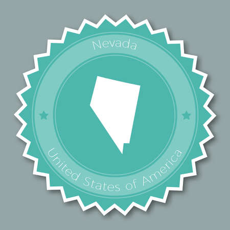 undefined: Nevada badge flat design. Round flat style sticker of trendy colors with the state map and name. US state badge vector illustration.