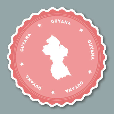 operative: Guyana sticker flat design. Round flat style badges of trendy colors with country map and name. Country sticker vector illustration. Illustration