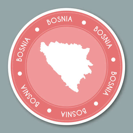 herz: Bosnia and Herzegovina label flat sticker design. Patriotic country map round lable. Country sticker vector illustration. Illustration