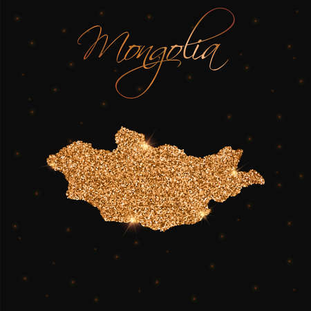 Mongolia map filled with golden glitter. Luxurious design element, vector illustration. Illustration
