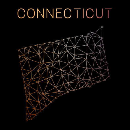 Connecticut network map. Abstract polygonal US state map design. Network connections vector illustration.