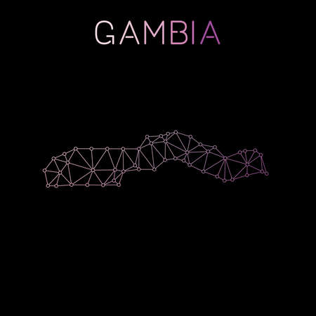 Gambia network map. Abstract polygonal map design. Network connections vector illustration. Ilustração