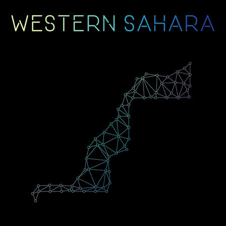 Western Sahara network map. Abstract polygonal map design. Network connections vector illustration. Illustration