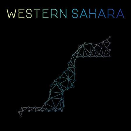 Western Sahara network map. Abstract polygonal map design. Network connections vector illustration. Ilustração