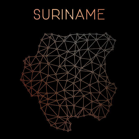 Suriname network map. Abstract polygonal map design. Network connections vector illustration. Ilustração