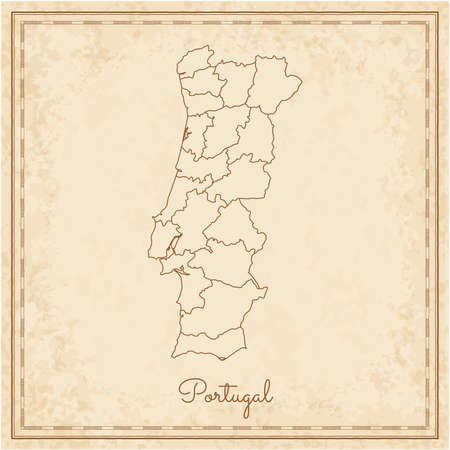 Portugal region map: stilyzed old pirate parchment imitation. Detailed map of Portugal regions. Vector illustration.