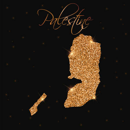 Palestine map filled with golden glitter. Luxurious design element, vector illustration. Illustration