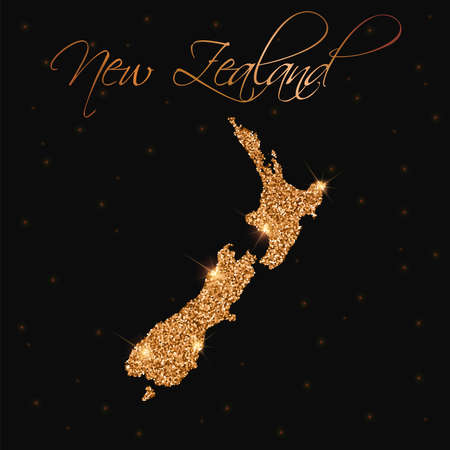 Mapa de Nueva Zelanda lleno de brillo dorado. Elemento de diseño lujoso, ilustración vectorial.