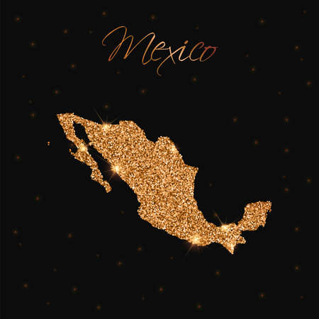 Mexico map filled with golden glitter. Luxurious design element, vector illustration. Illustration