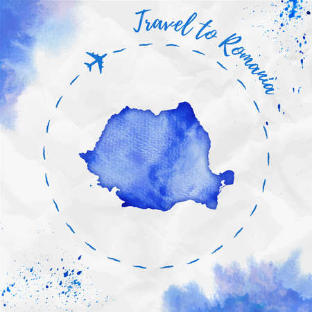 rom: Romania watercolor map in blue colors. Travel to Romania poster with airplane trace and handpainted watercolor Romania map on crumpled paper. Vector illustration.