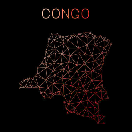 Congo, The Democratic Republic Of The network map. Abstract polygonal map design. Network connections vector illustration.