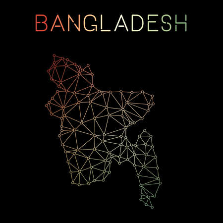 Bangladesh network map. Abstract polygonal map design. Network connections vector illustration. Illustration