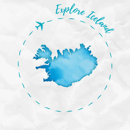 Iceland watercolor map in turquoise colors. Explore Iceland poster with airplane trace and handpainted watercolor Iceland map on crumpled paper. Vector illustration.