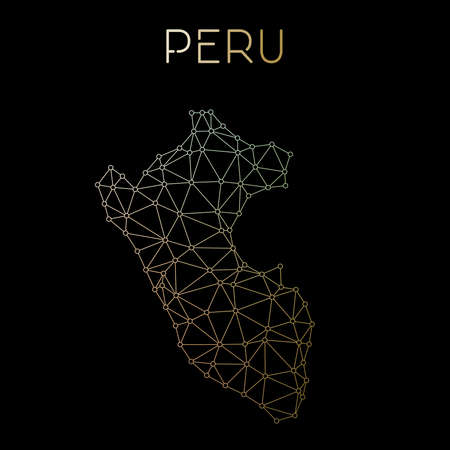 Peru network map. Abstract polygonal map design. Network connections vector illustration.