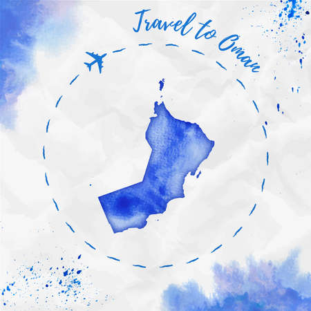 Oman watercolor map in blue colors. Travel to Oman poster with airplane trace and handpainted watercolor Oman map on crumpled paper. Vector illustration.
