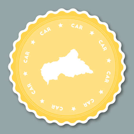 Central African Republic sticker flat design. Round flat style badges of trendy colors with country map and name. Country sticker vector illustration.