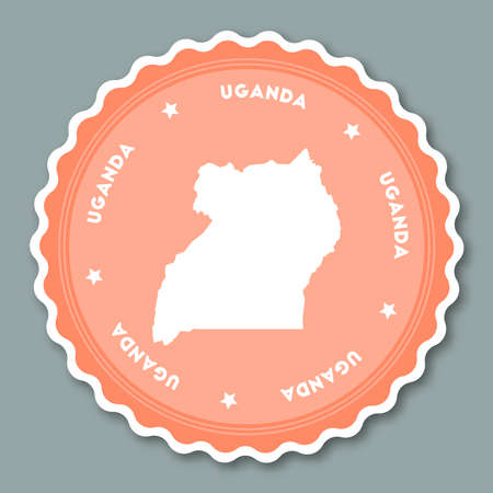 undefined: Uganda sticker flat design. Round flat style badges of trendy colors with country map and name. Country sticker vector illustration.