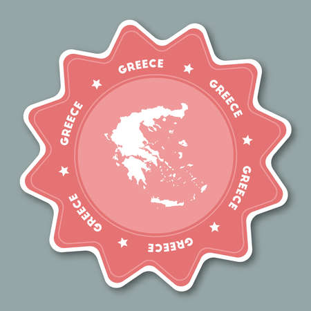 Greece map sticker in trendy colors. Star shaped travel sticker with country name and map. Can be used as logo, badge, label, tag, sign, stamp or emblem. Travel badge vector illustration.