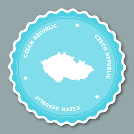 cz: Czech Republic sticker flat design. Round flat style badges of trendy colors with country map and name. Country sticker vector illustration. Illustration