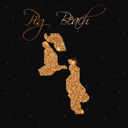 nationalist: Pig Beach map filled with golden glitter. Luxurious design element, vector illustration. Illustration