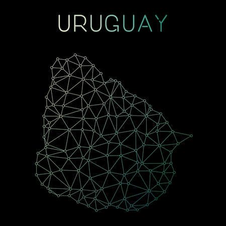 Uruguay network map. Abstract polygonal map design. Network connections vector illustration.