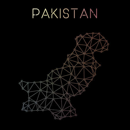 Pakistan network map. Abstract polygonal map design. Network connections vector illustration. Illustration