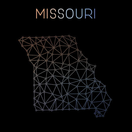 nationalist: Missouri network map. Abstract polygonal US state map design. Network connections vector illustration. Illustration