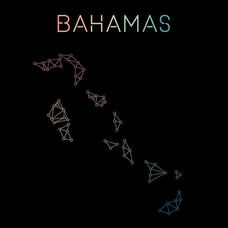 Bahamas network map. Abstract polygonal map design. Network connections vector illustration.