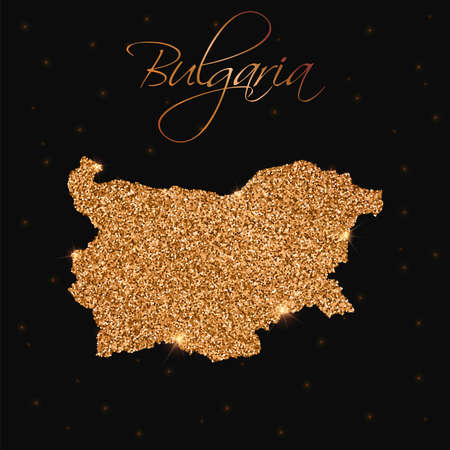 Bulgaria map filled with golden glitter. Luxurious design element, vector illustration. Illustration