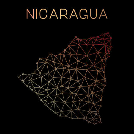 Nicaragua network map. Abstract polygonal map design. Network connections vector illustration.