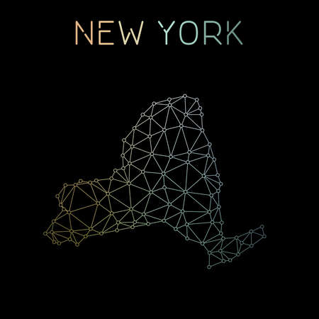 New York network map. Abstract polygonal US state map design. Network connections vector illustration. Ilustração
