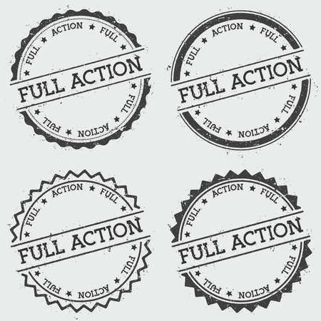 exclusive: Full action insignia stamp isolated on white background. Grunge round hipster seal with text, ink texture and splatter and blots, vector illustration. Illustration