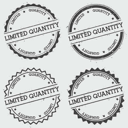 Limited quantity insignia stamp isolated on white background. Grunge round hipster seal with text, ink texture and splatter and blots, vector illustration.