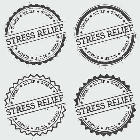 cachet: Stress relief insignia stamp isolated on white background. Grunge round hipster seal with text, ink texture and splatter and blots, vector illustration.