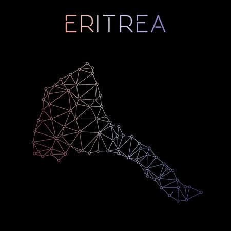 Eritrea network map. Abstract polygonal map design. Network connections vector illustration.