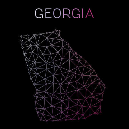 Georgia network map. Abstract polygonal US state map design. Network connections vector illustration.