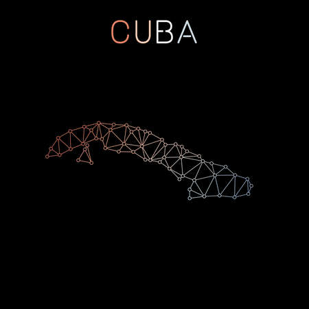 Cuba network map. Abstract polygonal map design. Network connections vector illustration.