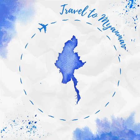 ミャンマー青い色の水彩マップ。しわくちゃの紙の飛行機トレースと手塗りの水彩ミャンマー地図ミャンマー ポスターへの旅行します。ベクトルの  イラスト・ベクター素材