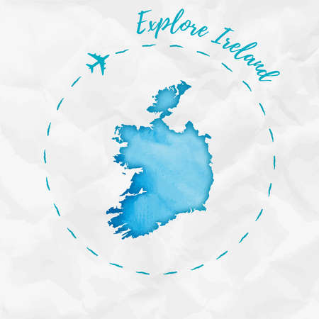 Ireland watercolor map in turquoise colors. Explore Ireland poster with airplane trace and handpainted watercolor Ireland map on crumpled paper. Vector illustration. Illustration