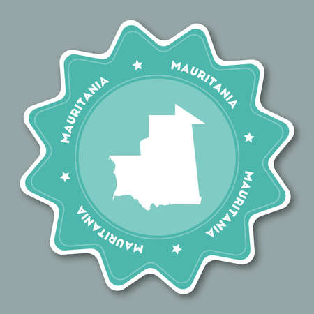 Mauritania map sticker in trendy colors. Star shaped travel sticker with country name and map. Can be used as logo, badge, label, tag, sign, stamp or emblem. Travel badge vector illustration. Illustration
