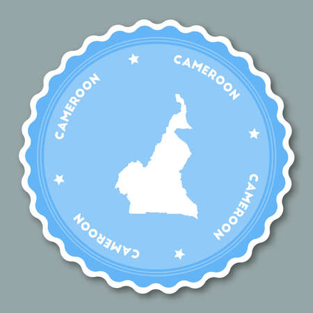 Cameroon sticker flat design. Round flat style badges of trendy colors with country map and name. Country sticker vector illustration.