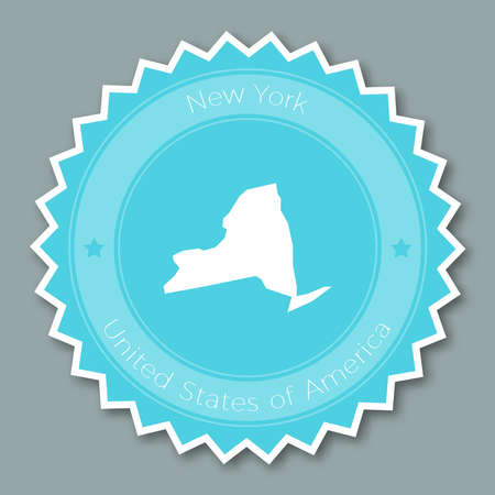 New York badge flat design. Round flat style sticker of trendy colors with the state map and name. US state badge vector illustration.