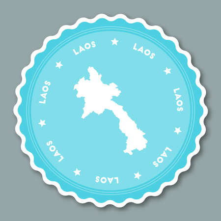 Lao Peoples Democratic Republic sticker flat design. Round flat style badges of trendy colors with country map and name. Country sticker vector illustration.