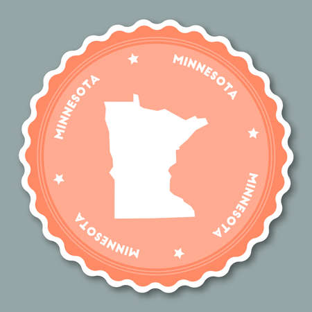 Minnesota sticker flat design. Round flat style badges of trendy colors with the state map and name. US state sticker vector illustration. Illustration