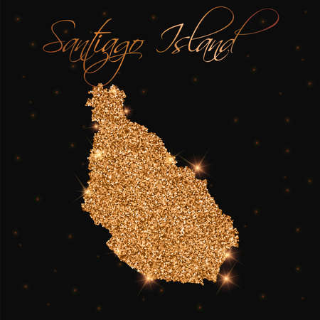 Santiago Island map filled with golden glitter. Luxurious design element, vector illustration.