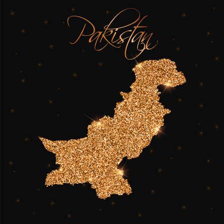 Pakistan map filled with golden glitter. Luxurious design element, vector illustration. Illustration