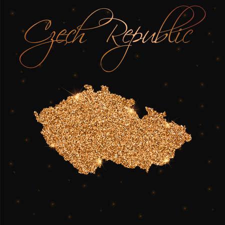 Czech Republic map filled with golden glitter. Luxurious design element, vector illustration.